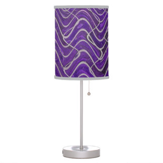Purple Grey abstract brick pattern Table Lamps