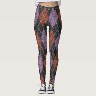 Purple, Grey and Burgundy Argyle Knit Look Leggings