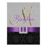 Purple Grey Black Damask Gold Reception Card
