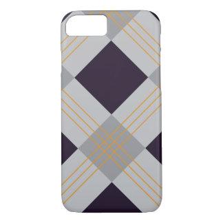 Purple, grey caro geometric Halloween iPhone 7 Case