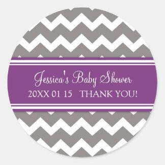 Purple Grey Chevron Baby Shower Favor Stickers