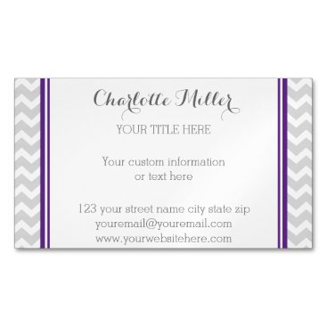 Professional Business Purple Grey Chevron Magnetic Business Card