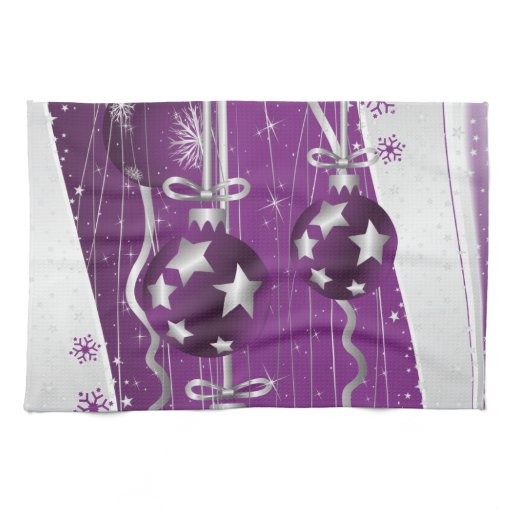 Red Kitchen Hand Towels: Purple, Grey Christmas Balls Stars And Snowflakes Towels