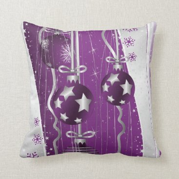 Christmas Themed Purple, grey Christmas balls stars and snowflakes Throw Pillow