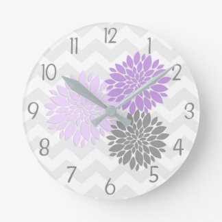 Purple Grey Dahlia Flower Nursery Wall Clock
