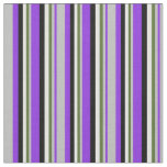 [ Thumbnail: Purple, Grey, Dark Olive Green, Light Cyan & Black Fabric ]