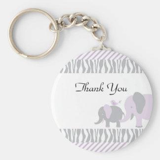 Purple & Grey Elephant Keychain