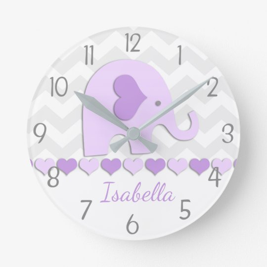 Purple Grey Elephant Nursery Wall Clock