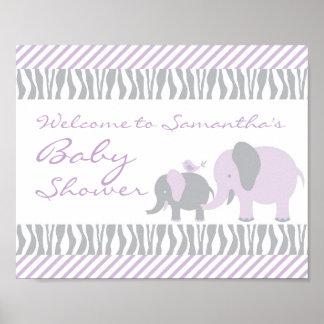 Purple & Grey Elephant Welcome Door Sign Poster