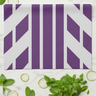 Purple & Grey Geometric Kitchen Towel, Monogram Hand Towel
