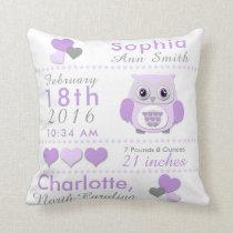 Purple Grey Owl Birth Stats Nursery Throw Pillow