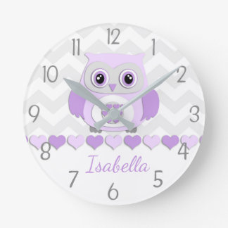 Purple Grey Owl Nursery Wall Clock