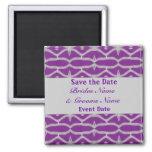 purple grey save the date fridge magnet