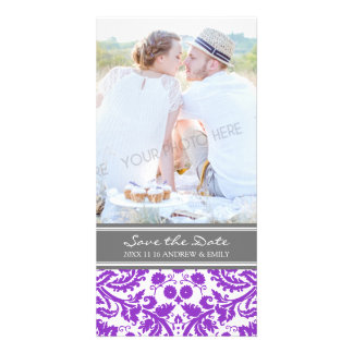 Purple Grey Save the Date Wedding Photo Cards
