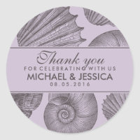 Purple Grey Seashell Wedding Favor Sticker Label