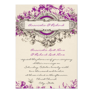 Purple Grey Vintage Floral Wedding Invitation