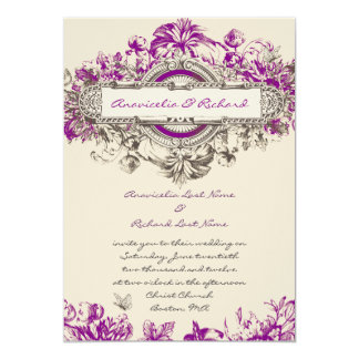Purple Grey Vintage Floral Wedding Invitation