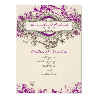 Purple Grey Vintage Floral Wedding Program