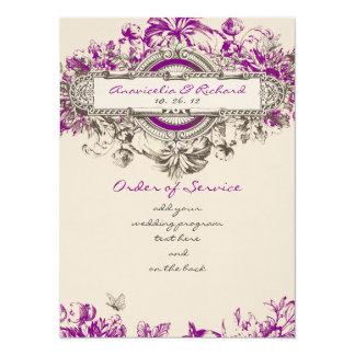 Purple Grey Vintage Floral Wedding Program Card