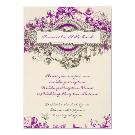 Purple Grey Vintage Floral Wedding Reception Card