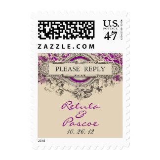 Purple Grey Vintage Floral Wedding RSVP Postage