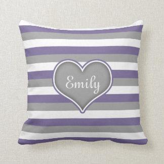 Purple Grey White Stripes & Heart Throw Pillow