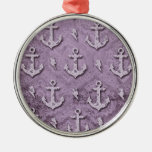 Purple grunge anchors pattern ornaments