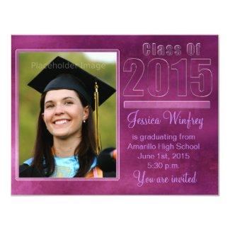 "Purple Grunge Class of 2015 Graduation Photo 4.25"" X 5.5"" Invitation Card"