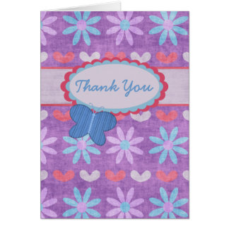 Purple Grunge Daisies and Butterfly Thank You Card