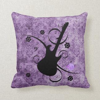 Purple Grunge Damask Black Guitar & Flowers Pillow