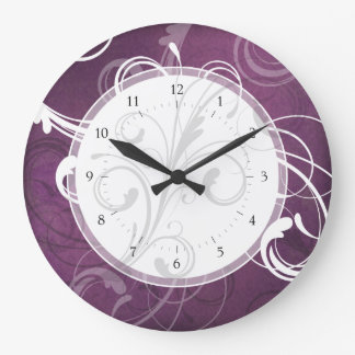 Purple Grunge Damask Elegant Swirls Large Clock