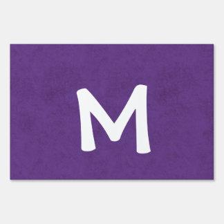 Purple Grunge Damask Monogram M Home Gift Lawn Sign