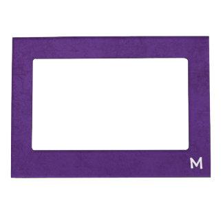 Purple Grunge Damask Monogram M Magnet Gift Magnetic Frame