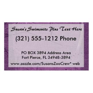 Purple grunge fabric background type design business card