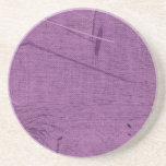 Purple grunge fabric background type design drink coasters
