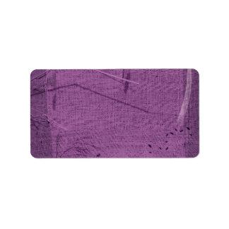 Purple grunge fabric background type design custom address labels