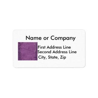 Purple grunge fabric background type design personalized address label