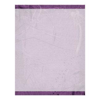 Purple grunge fabric background type design letterhead template