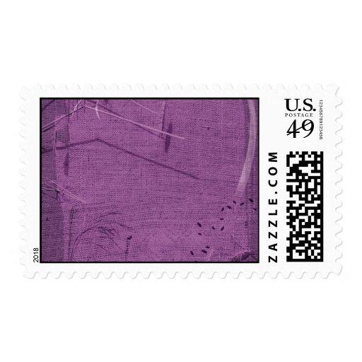 Purple grunge fabric background type design postage stamps