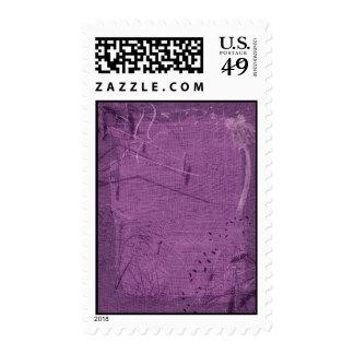 Purple grunge fabric background type design postage stamp