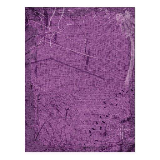 Purple grunge fabric background type design postcard