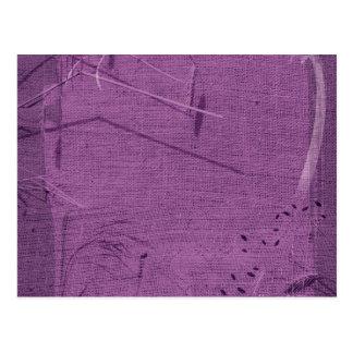 Purple grunge fabric background type design post card