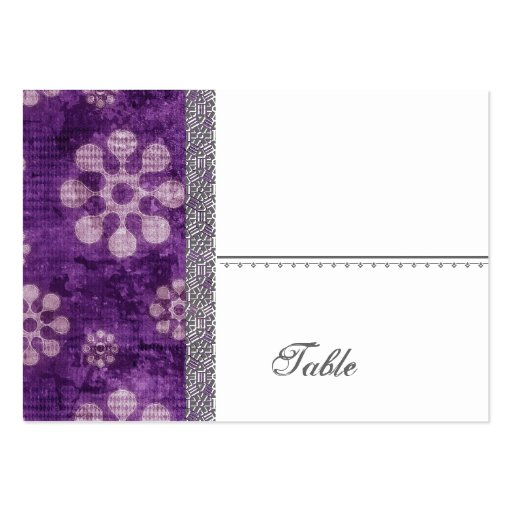 Purple Grunge Flowers Modern Wedding Large Business Card