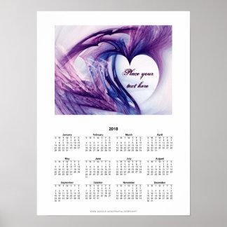 Purple Grunge Heart - Calendar 2018 Poster