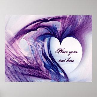 Purple Grunge Heart Poster