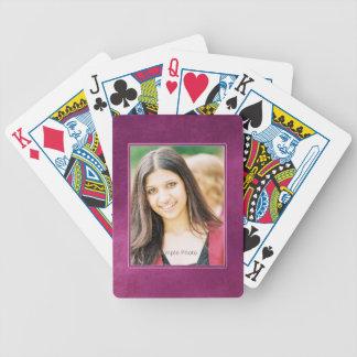 Purple Grunge Photo Frame Playing Cards