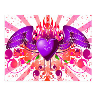 Purple Grunge Winged Heart Design Postcards