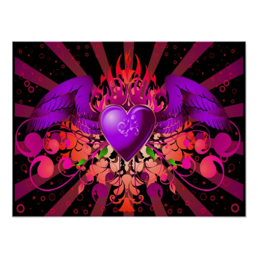 Purple Grunge Winged Heart Design Poster