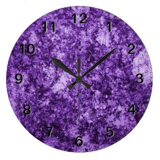 Purple Grungy Abstract Design Wall Clocks