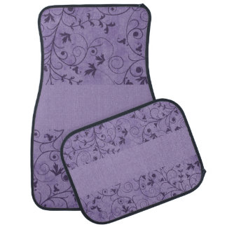 Purple Grungy Floral Car Mat